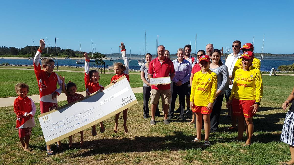 Nippers are jumping for joy at Tacking Point and Port Macquarie Surf Life Saving Clubs with two donations from the Westport Club